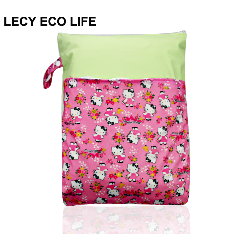 factory outlet 1pc Spell color waterproof PUL wet dry bag, reusable baby cloth diaper bag, baby nappy bags with double pockets