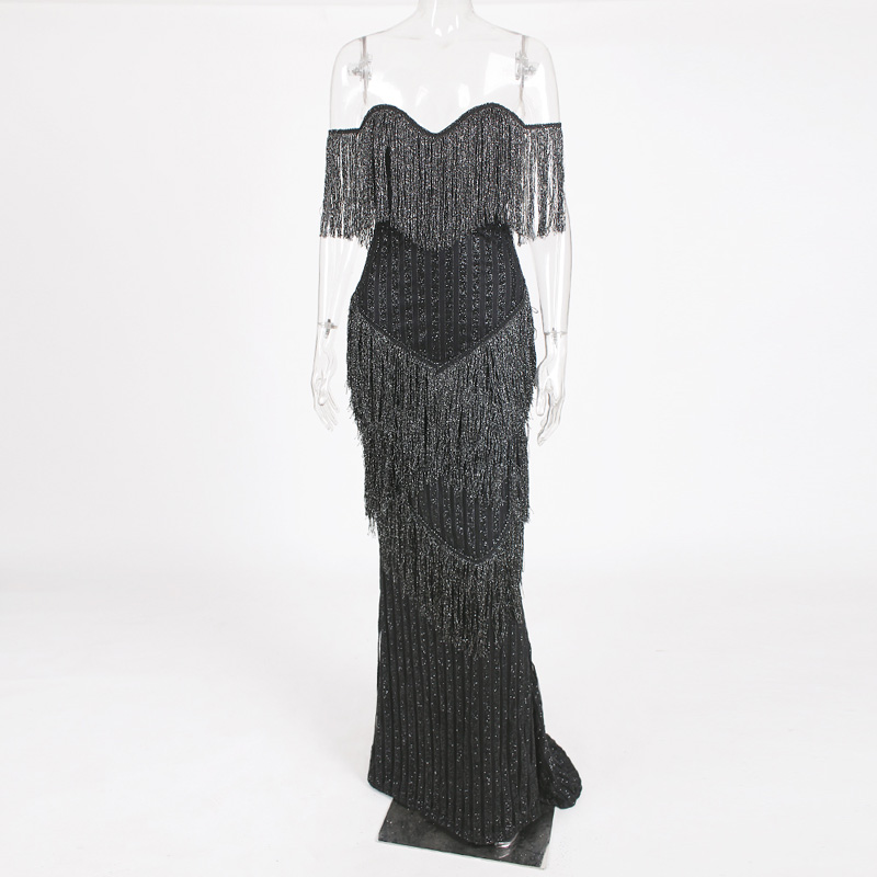 Sexy noir gland bretelles rembourré col en V longueur au sol robe de soirée moulante dos nu argent sans manches paillettes robe d'été