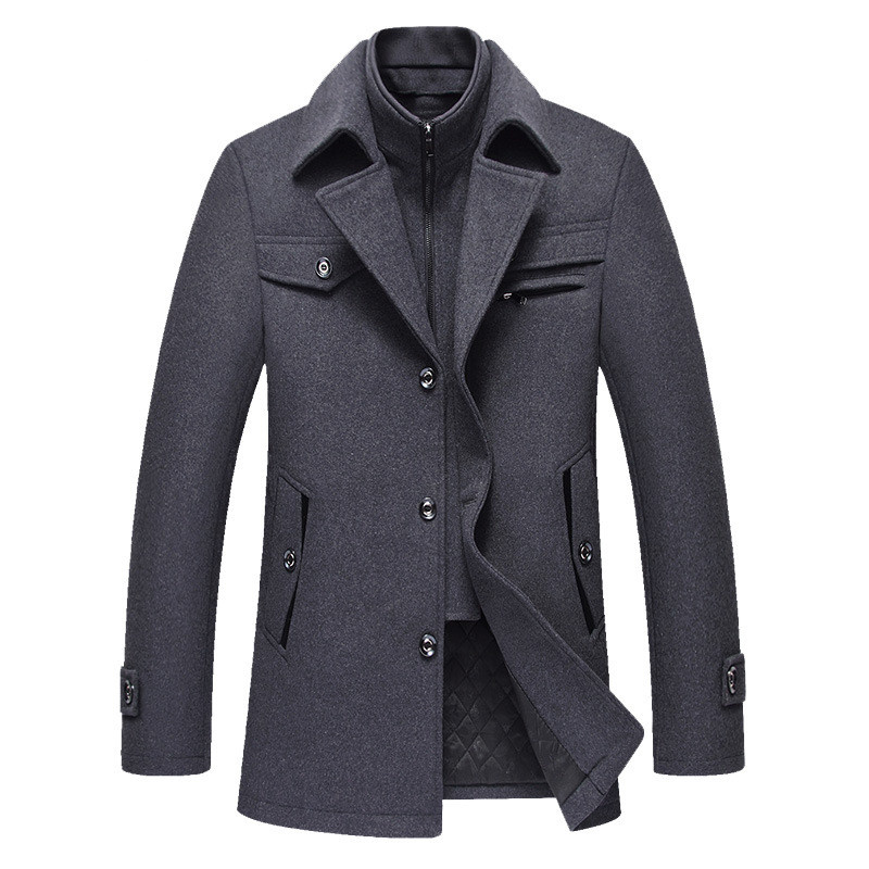 Image 3 - BOLUBAO Men Winter Wool Coat Men's New High Quality Solid Color Simple Blends Woolen Pea Coat Male Trench Coat Casual Overcoat-in Wool & Blends from Men's Clothing
