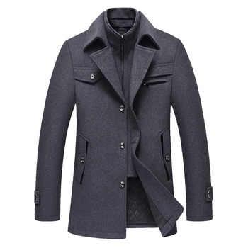 BOLUBAO Men Winter Wool Coat Men\'s New High Quality Solid Color Simple Blends Woolen Pea Coat Male Trench Coat Casual Overcoat
