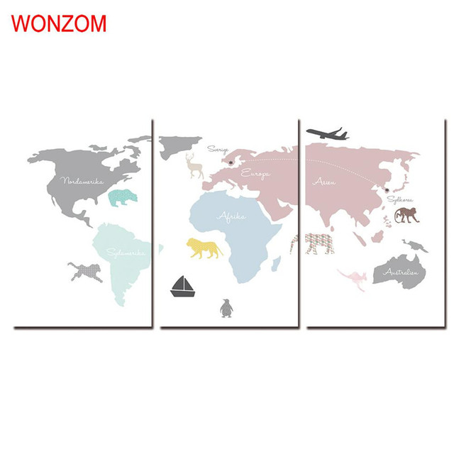 WONZOM HD Printed Pcs World Map Wall Pictures Framed Directly To - How to hang a large map