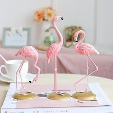 Home Decoration Crafts Pink Flamingo Cute Animal Shape Resin Ornament Tabletop Living Room Terrarium Figurines