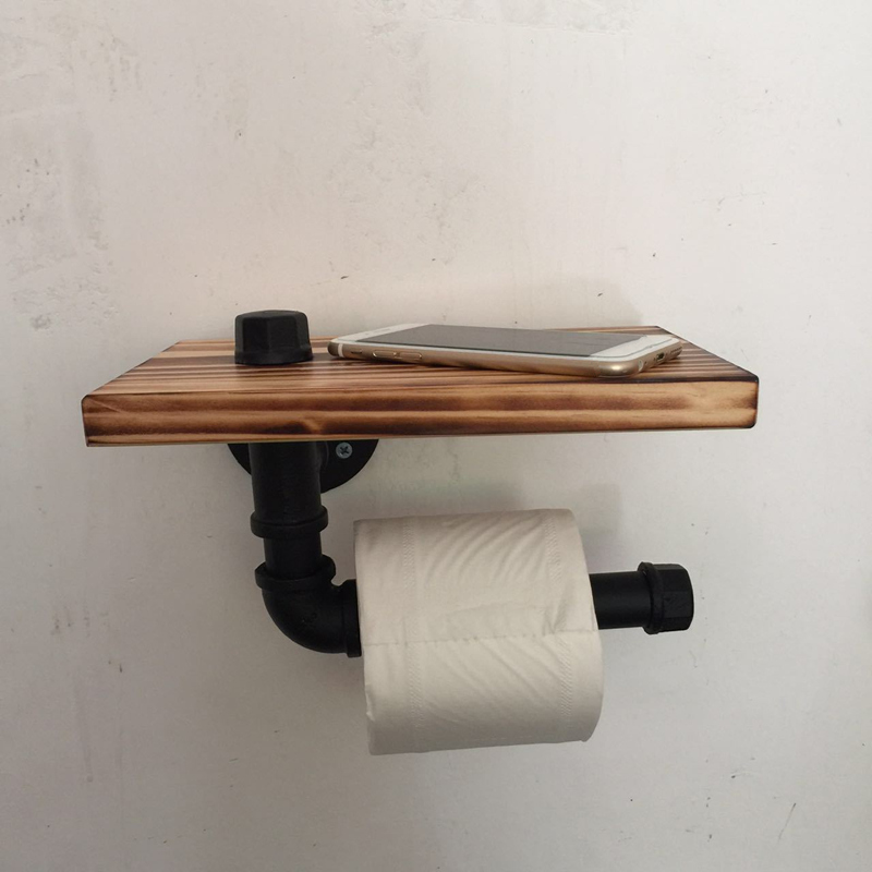 Vintage Handicraft Urban Industrial Wall Mount Wood Storage Shelf Iron Pipe Toilet Paper Holder Roller Restaurant Restroom Excellent In Cushion Effect Paper Holders