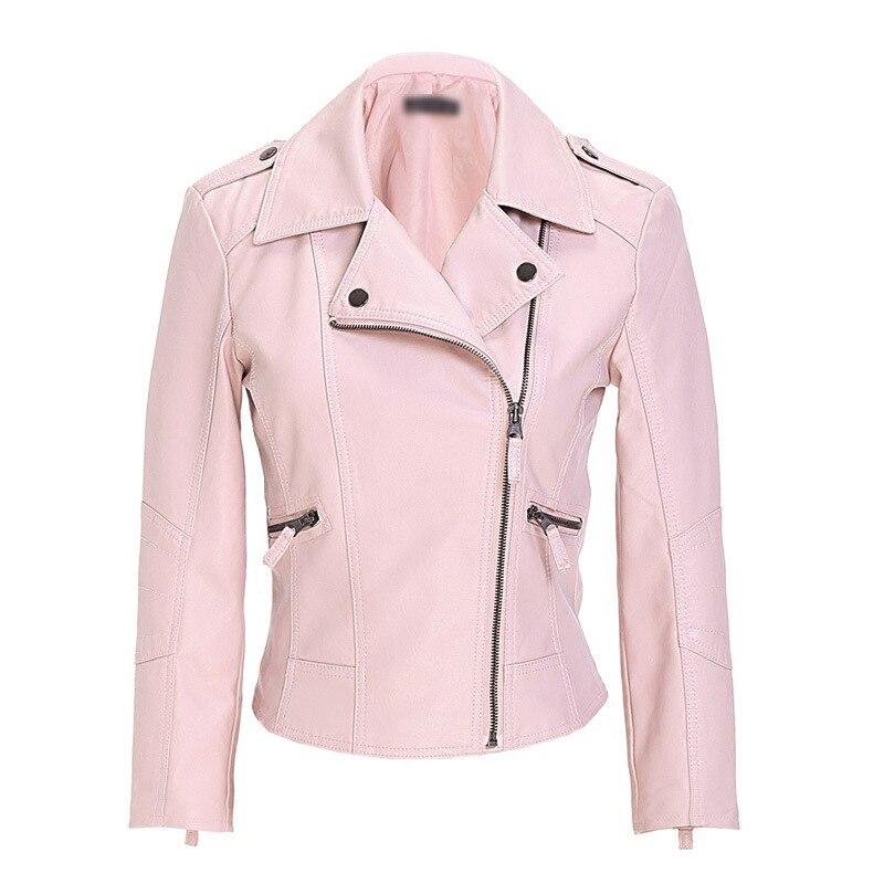 2018 Autumn Women Black Slim Cool Lady PU   Leather   Jackets Sweet Female Zipper Faux Femme Outwear Coat Plus