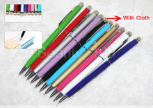High Quality 2 in 1 Metal Stylus Touch Pen + Capacitive  Cloth Pen for Iphone 6 6s Ipad Ipod Tablet pc Samsung  S7 edge