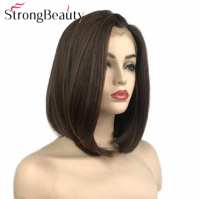 StrongBeauty Lace Front Pruik Korte Bob Pruik Synthetische Hittebestendige Lijmloze Straight Pruiken