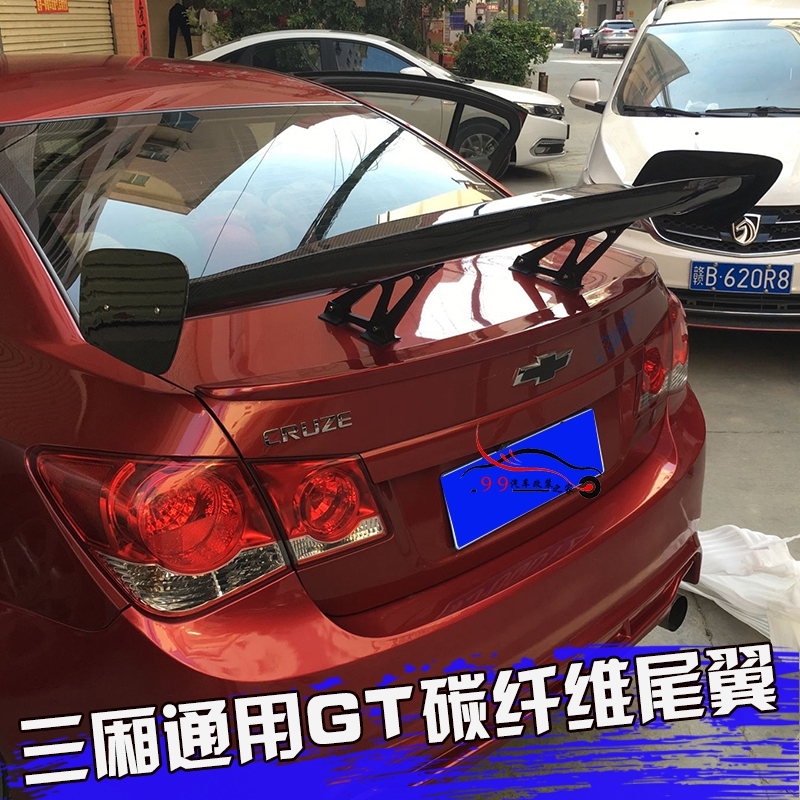 Universal Car-Styling Carbon Fiber Rear Trunk Spoiler GT Wing for Chevrolet Cruze universal Sedan Spoiler car styling carbon fiber auto rear wing spoiler lip for vw scirocco 2010 2012