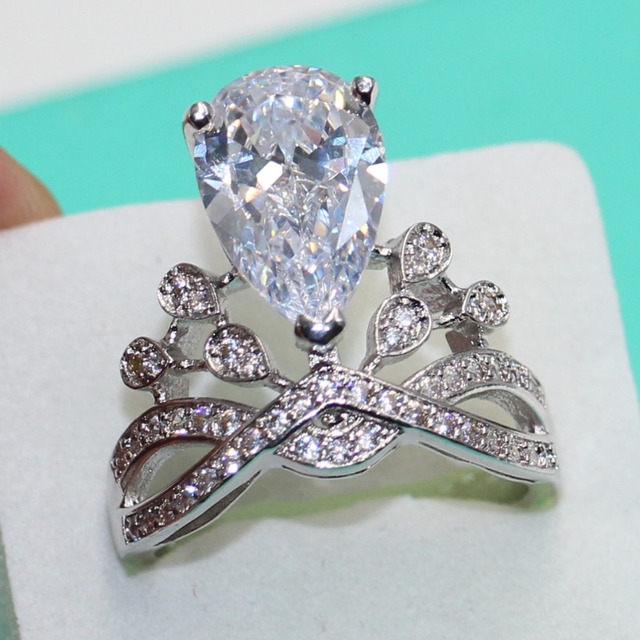 Brand Jewelry Pear cut 8ct Topaz Simulated diamond 925 sterling Silver Engagement Wedding Band Ring For Women Sz 5-10