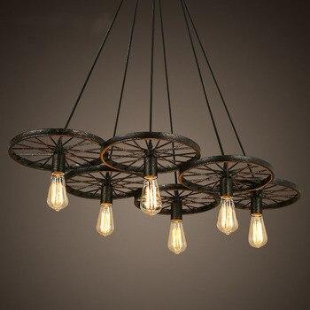 Retro chandelier loft kreatif pribadi restaurant bar Amerika gaya desa besi art industri angin lampu roda lampu