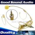 Beige 3.5 mm Stereo Plug Connector Double Earhook Headworn Mic Headset Microphone Mike For Wireless System BodyPack Transmitter