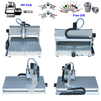4 axis 800W CNC Router 6040 China CNC Milling Machine for for aluminum metal wood with assembled & tested well