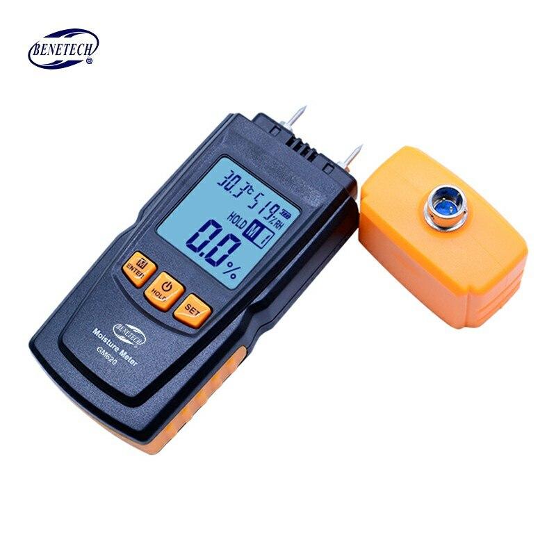 BENETECH GM620 numérique LCD affichage bois humidimètre 2 ~ 70% testeur d'humidité double sonde d'essai bois détecteur d'humidité portable - 3