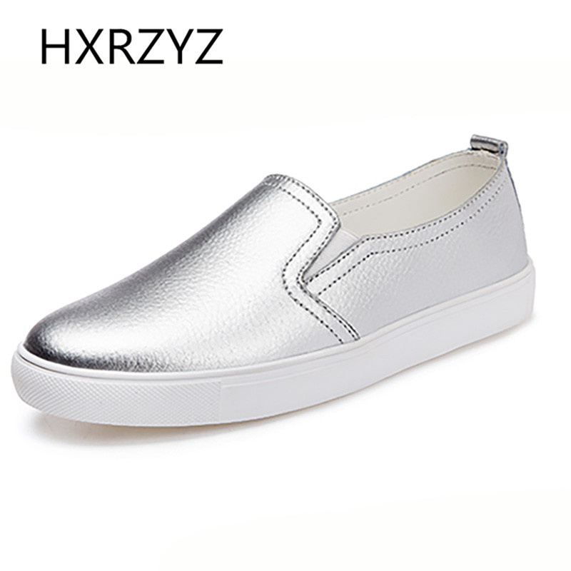 Autumn Of Fashion Classic PU Soft Leather Casual Flat Shoes Women Round Toe Slip on