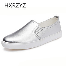 Autumn Of Fashion Classic PU Soft Leather Casual Flat Shoes Women Round Toe Slip-on Canvas Shoes Women Silver Lazy Shoes