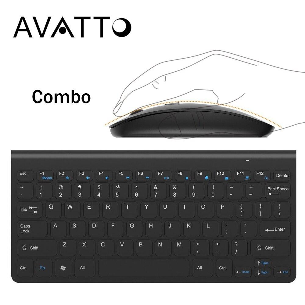 AVATTO 2,4 GHz Mini teclado inalámbrico y ratón óptico Combo 1 receptor USB Control de escritorio la PC de la computadora portátil inteligente TV