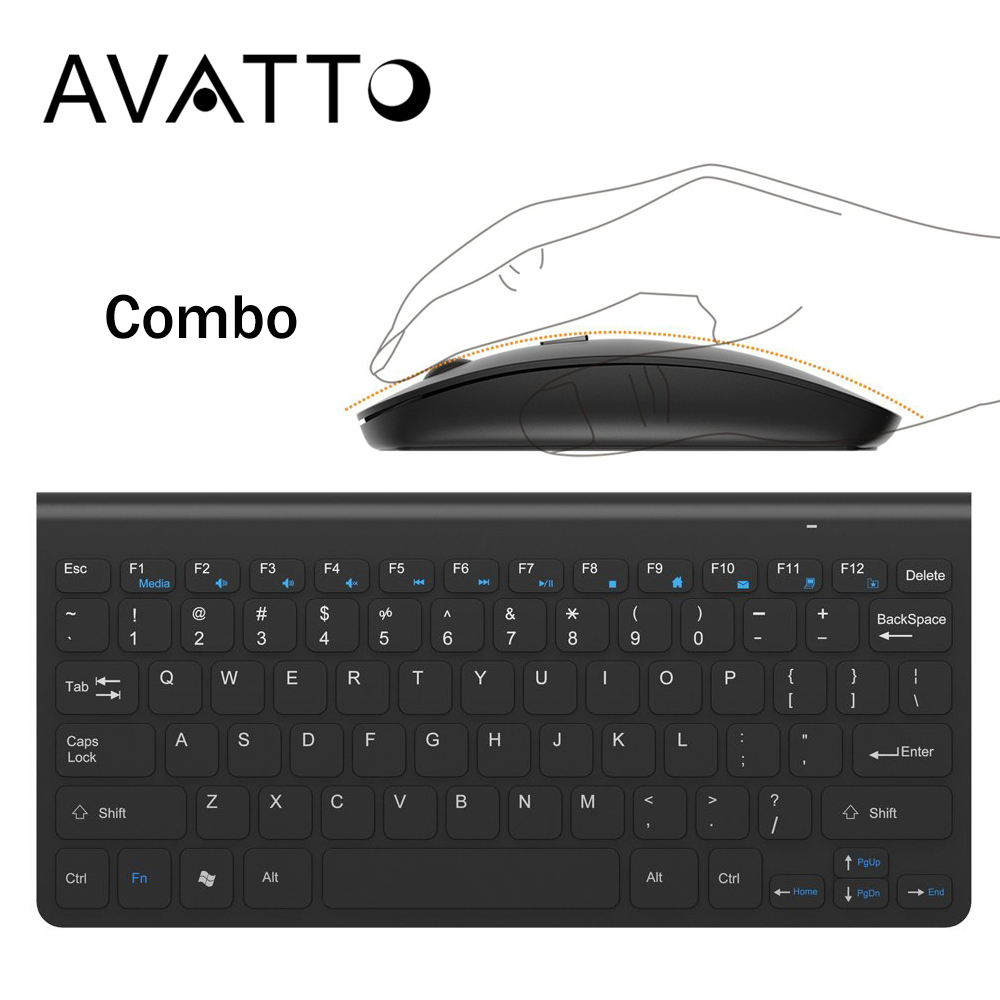 AVATTO 2.4GHz Wireless Mini Keyboard and Optical Mouse Combo by 1 USB Receiver Control for Desktop,Computer PC,Laptop,Smart TV цены онлайн