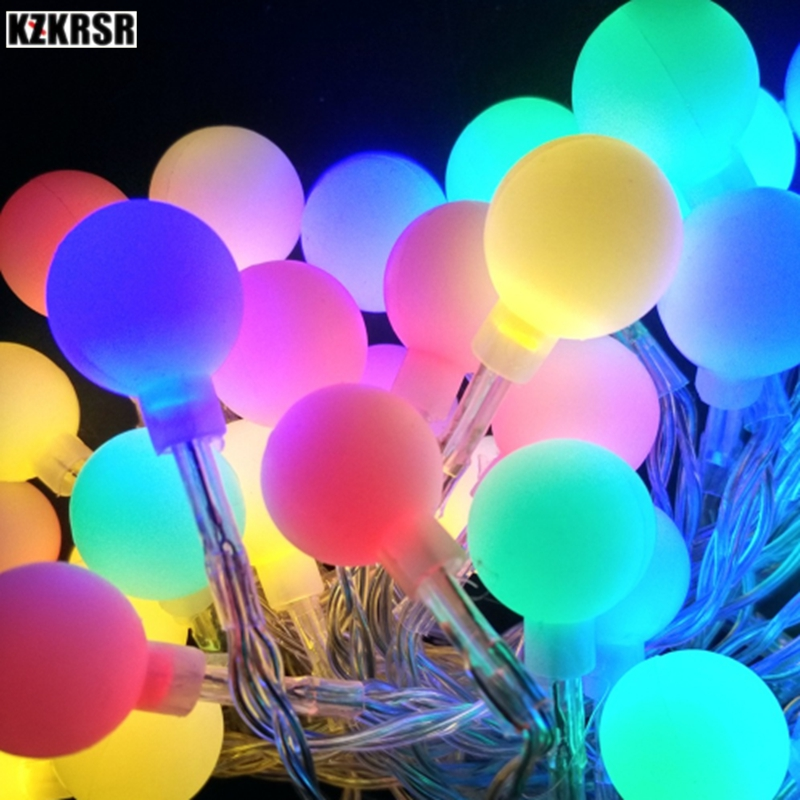 KZKRSR 10M 20M 30M 50M Garland Ball Led String Lights for Christmas Wedding Party Decoration Warm White Lamp AC 110V / 220V все цены