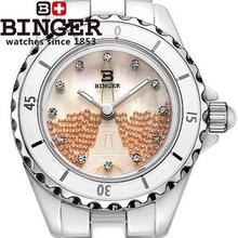 New fashion Famous Brand Binger Eiffel Tower watch Lady ceramic watches orange High quality quartz dress