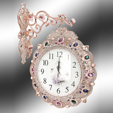 home decor european rural resin stones doublesided doublesided creative wall clock bell