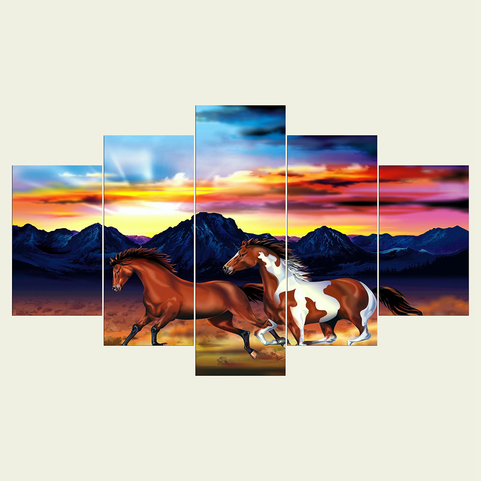 Framework Canvas Sunset Landscape Abstract Painting Wall Art Poster 5 Panel Horses Modular Pictures For Living Room Home Decor