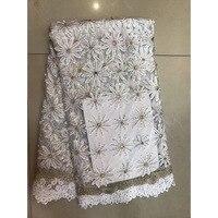 Tissu africain de Lacet 2017 Brodé Tissu de Lacet Nigérian Avec Strass De Mariée Haute Qualité Français Tulle Dentelle Tissu Blanc