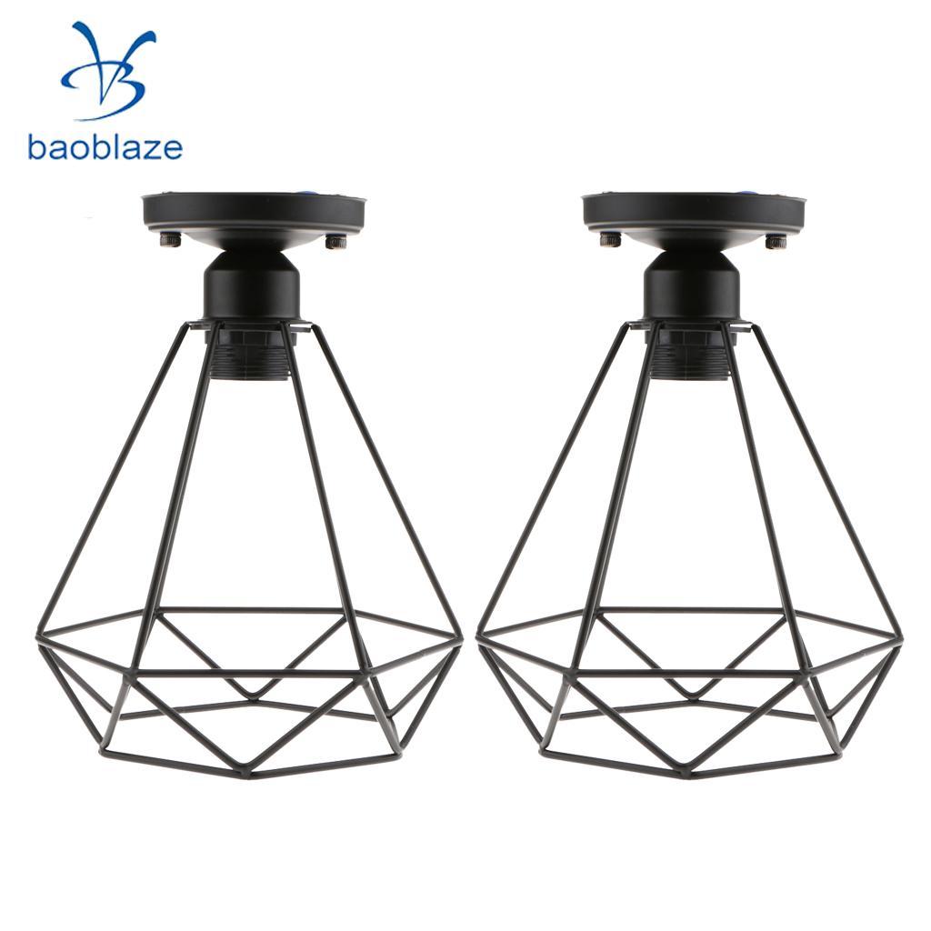 2 Pcs Rétro Fil Diamant Pendentif Plafonnier Cage Abat-jour Salon Éclairage 110-220 V