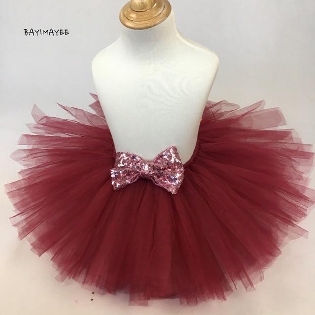 f184b38fe New Girls Burgundy Tutu Skirt Baby Ballet Dance Pettiskirts with ...