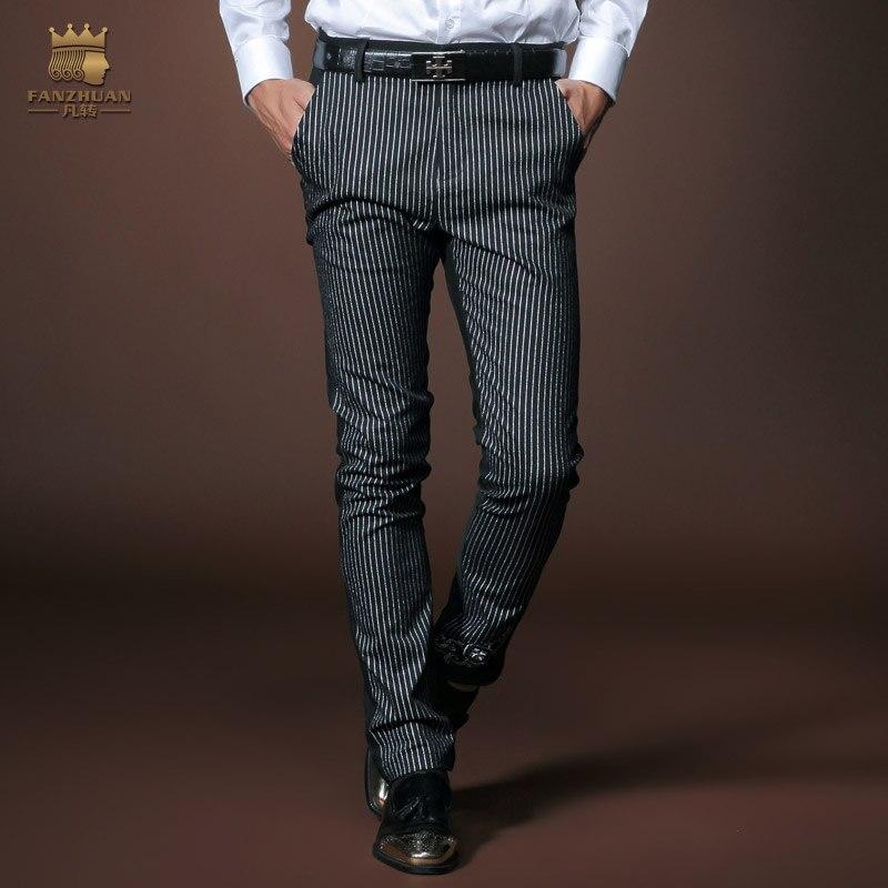 Free Shipping New Male Fashion Manu0026#39;s Men Casual Autumn Mens Business Pants Slim Black Striped ...