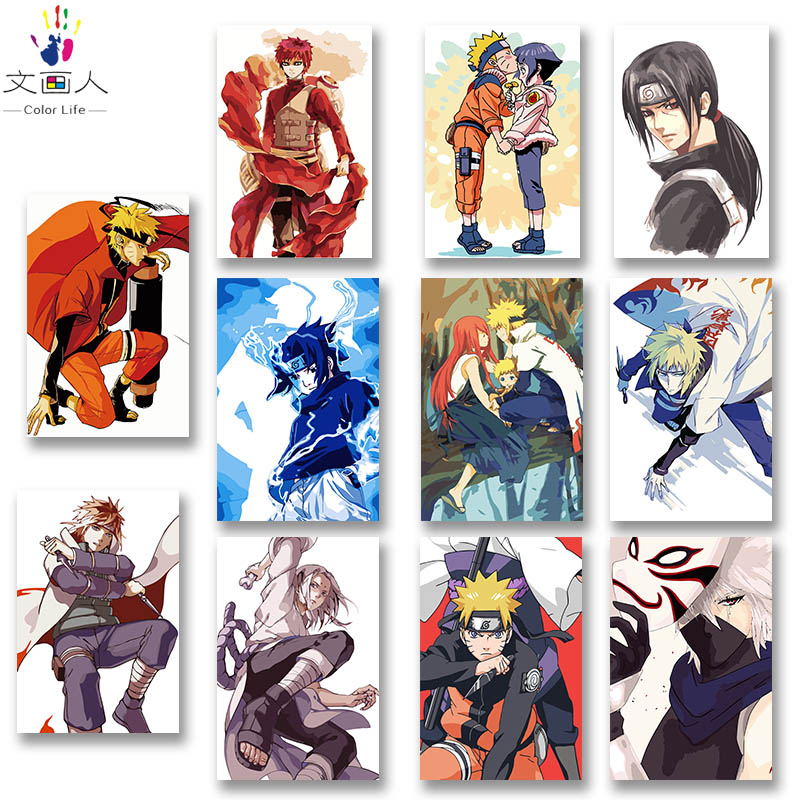 DIY Colorings Pictures By Numbers With Colors Anime Naruto Sasuke Naruto Kakashi Picture Drawing Painting By Numbers Framed