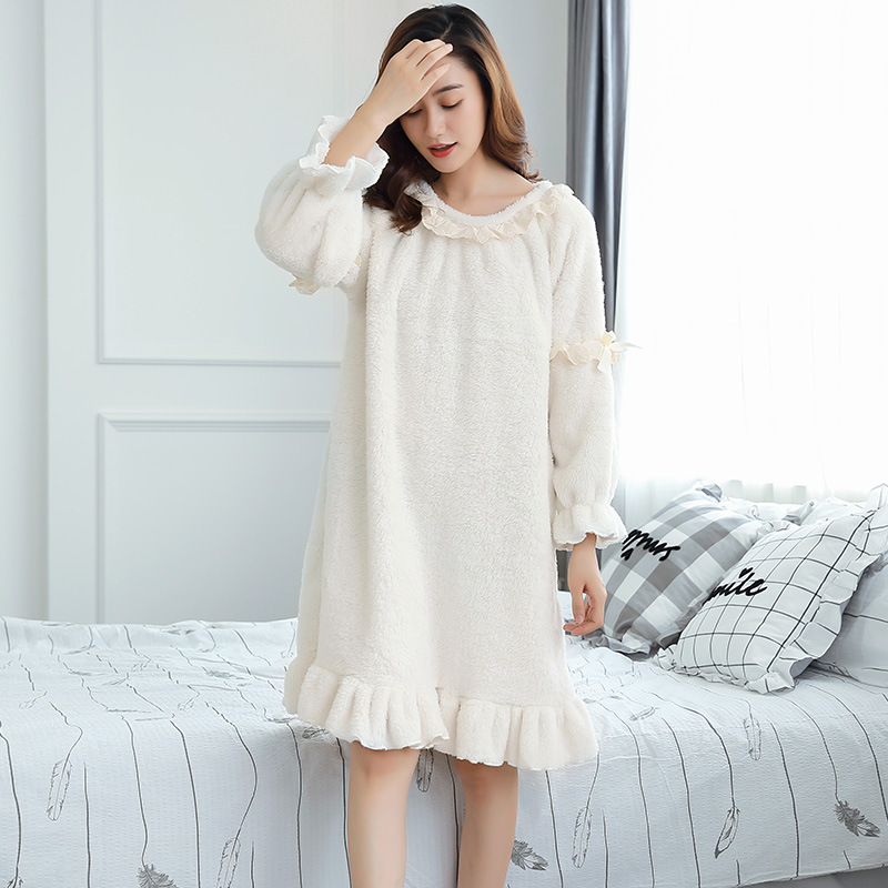 New women   Nightgown   autumn winter wholesale long sleeved   Sleepshirts   Sleepwear Female thickened coral fleece fabric sleep dress