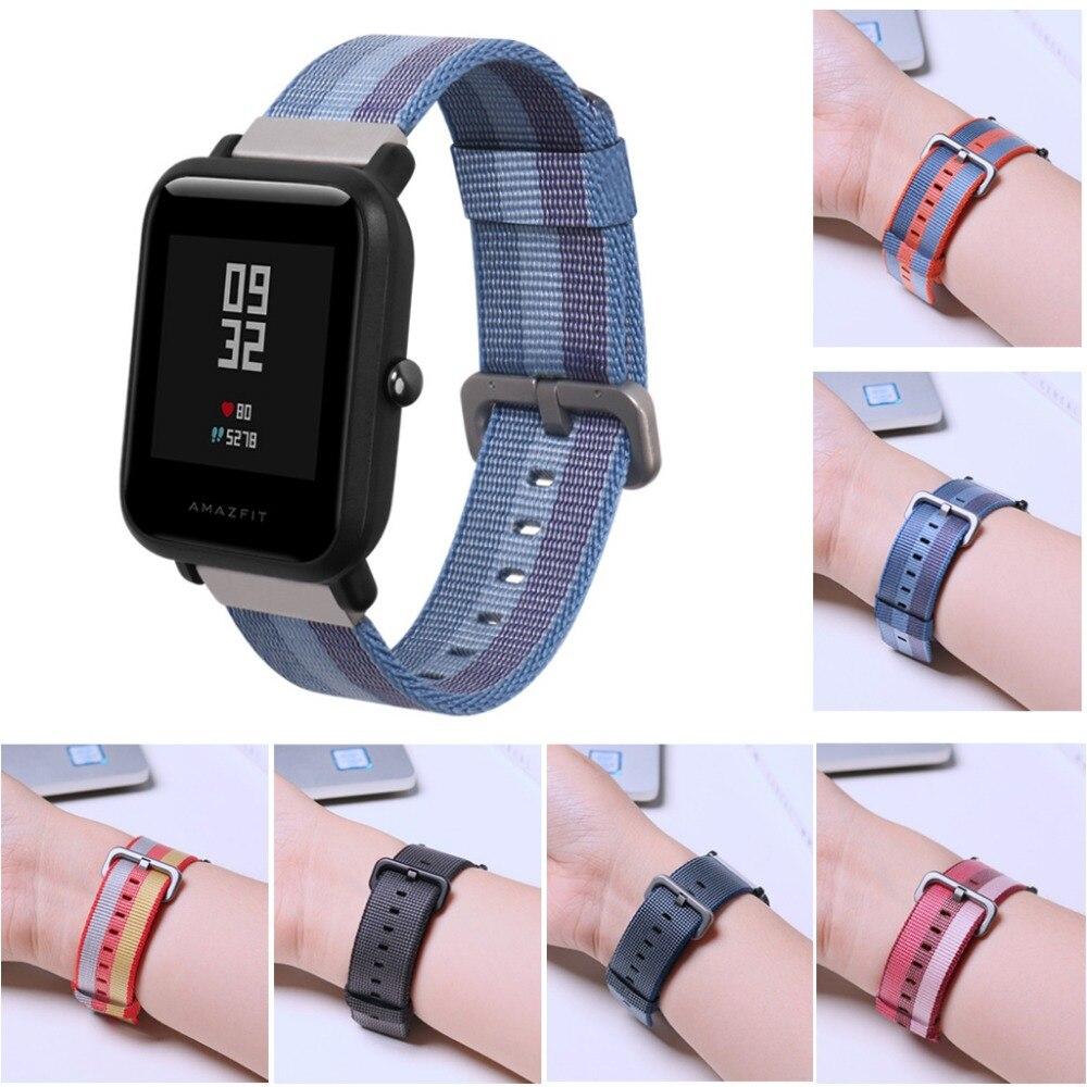 20mm Nylon Intrecciato Wristband Strap Per Huami Amazfit Bip RITMO Lite Gioventù Orologio