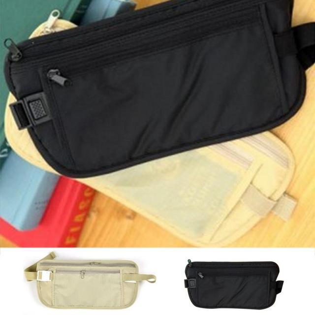 Travel Sport Pouch Bag Hidden Compact Security Money Waist Belt Holder Pocket