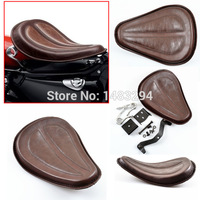 Motorcycle Brown Leather Solo Seat W/ Brackets Springs For Harley Sportster 883 1200 XL Bobber Chopper Custom New