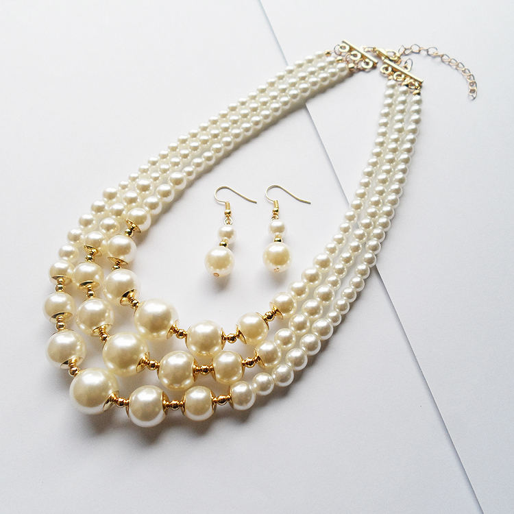 Fashion new style 3 layers strand cheap short pearl neck clavicle ...