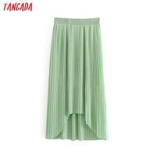 48a69db012 Tangada mujeres irregular falda faldas mujer cintura elegante de gasa verde  maxi faldas largas 6A150