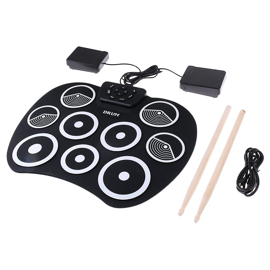 hlby portable electronics drum kit roll up drum 9 drumsticks usb silica gel plastic footswitch. Black Bedroom Furniture Sets. Home Design Ideas