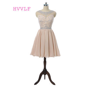 Homecoming-Dresses Beaded Cap Chiffon Crystal A-Line Short Champagne Sleeves Mini