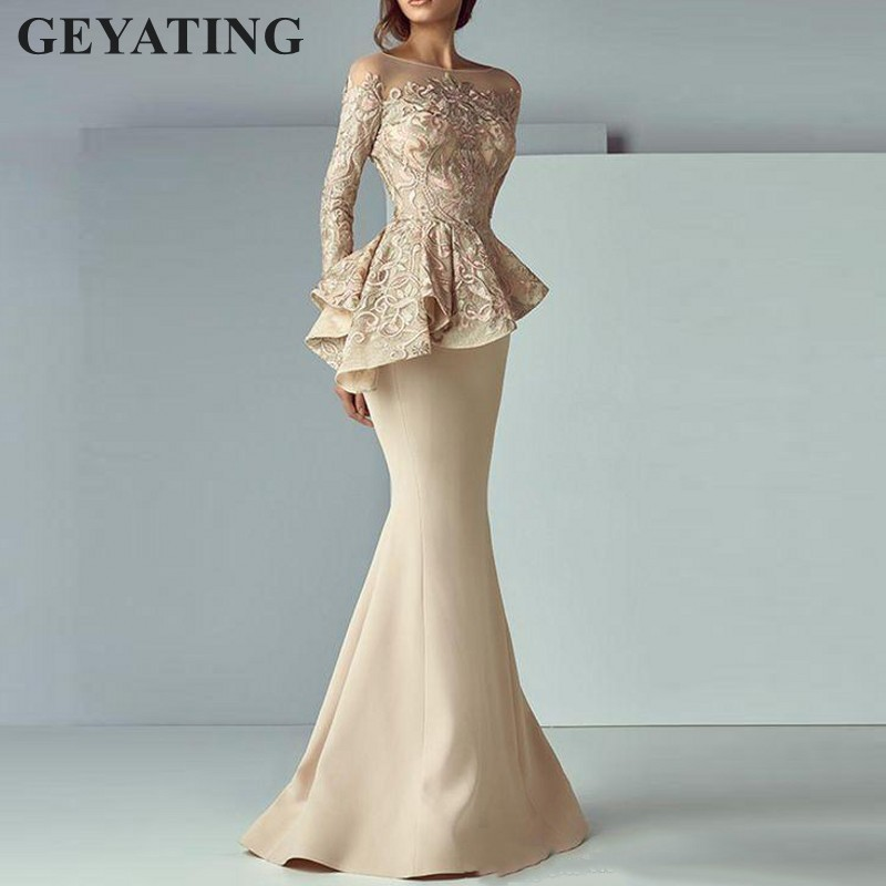 60ec5261d Dubai Long Sleeves Mermaid Arabic Evening Dresses Peplum abiye Robe De  Soiree Elegant Women Long Formal Prom Dress Party Gowns ~ Perfect Deal July  2019