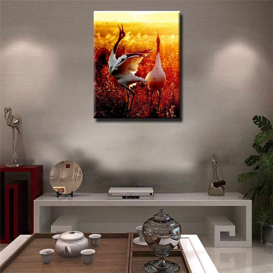 WEEN Sunset Crane DIY Painting By Numbers Kit Acrylic Paint Wall Art Picture Paint By Number Canvas Painting Home Decor 40X50cm in Painting Calligraphy from Home Garden