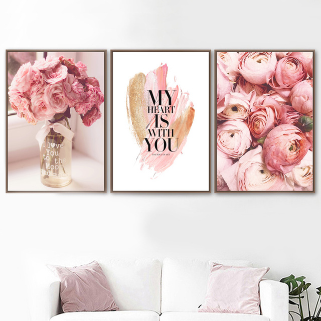 Pink Rose Flower Vase Love Quote Wall Art 1