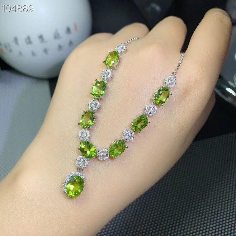 Pendentif péridot vert frais pour collier en argent pour femmes