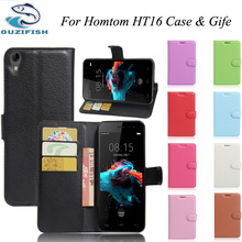 OUZIFISH For Homtom HT16 Case Wallet PU Leather Back Cover Case For Homtom HT16 Case 5.0″ Flip Protective Phone Bag Skin Fundas