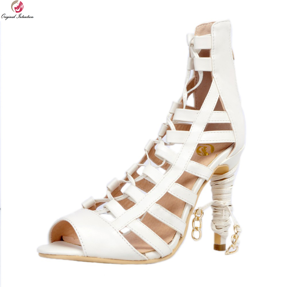 Original Intention New Popular Women Sandals Sexy Peep Toe Thin Heels Sandals Fashion Beige Shoes Woman Plus US Size 4-10.5 hot selling sexy sloid thin heels sandals woman new desig lace red white black sandals peep toe elegant for women free sipping