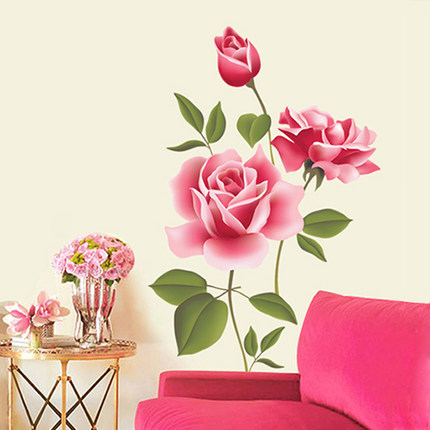 Romantic Love 3D Rose Flower Blossom Wall Stickers Furnishings Living Room TV Decoration Wall Sticker Home Decor Decal Art in Wall Stickers from Home Garden