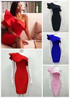 4 Colors Ladies HL Bandage Dress Ruffles One Shoulder Bodycon Mini Dress Club Night Dress High Quality