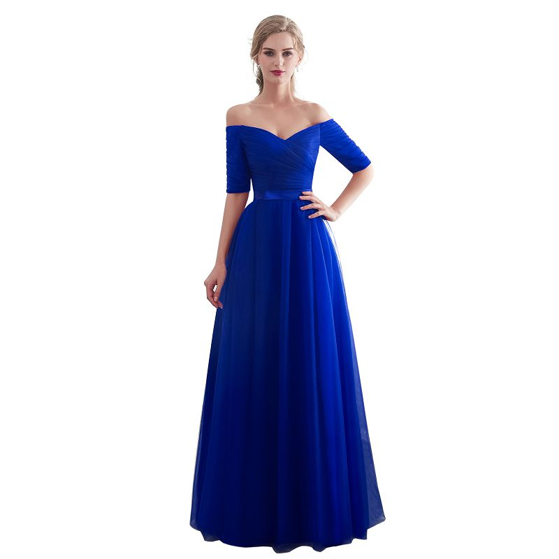 Royal blue   Evening     Dresses   2018 Long boat neck prom gown Cheap Half Sleeve Vestido da festa fashionable formal party   dress