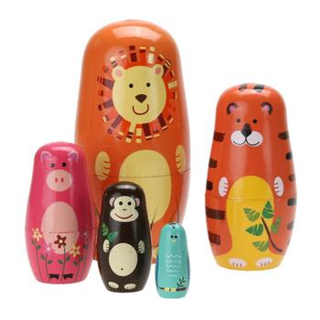 5pcs/set Cute Wooden Animal Paint Nesting Dolls Babushka Russian Matryoshka Doll Hand Paint Toys Home Decoration Gifts for Kids