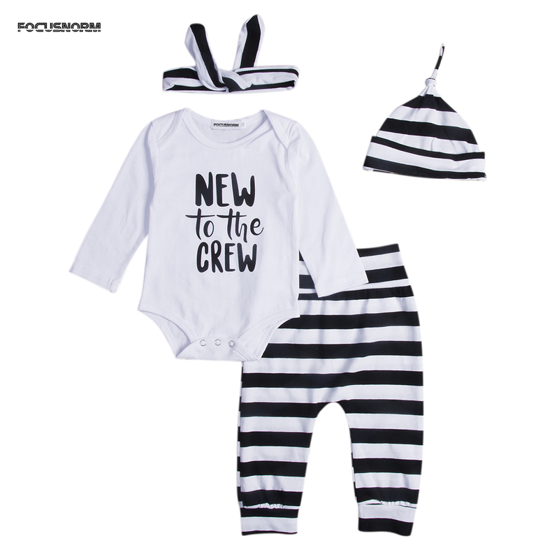 Newborn Baby Boy Girl Clothes Letter New to the Crew Long Sleeve Romper Pants Trousers 4PCS Outfits Clothes