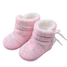 0-18M Baby Girl Print Winter Boots Warm Fur Snow Boot Infant Toddler First walkers Child Crib Baby Soft Sole Shoes(China)