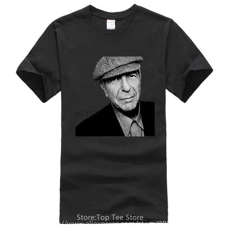 Фанки T рубашки из ткани в рубчик продажи Леонард Коэн песни о любви и ненависть машина с круглым вырезом с коротким рукавом мужская футболка